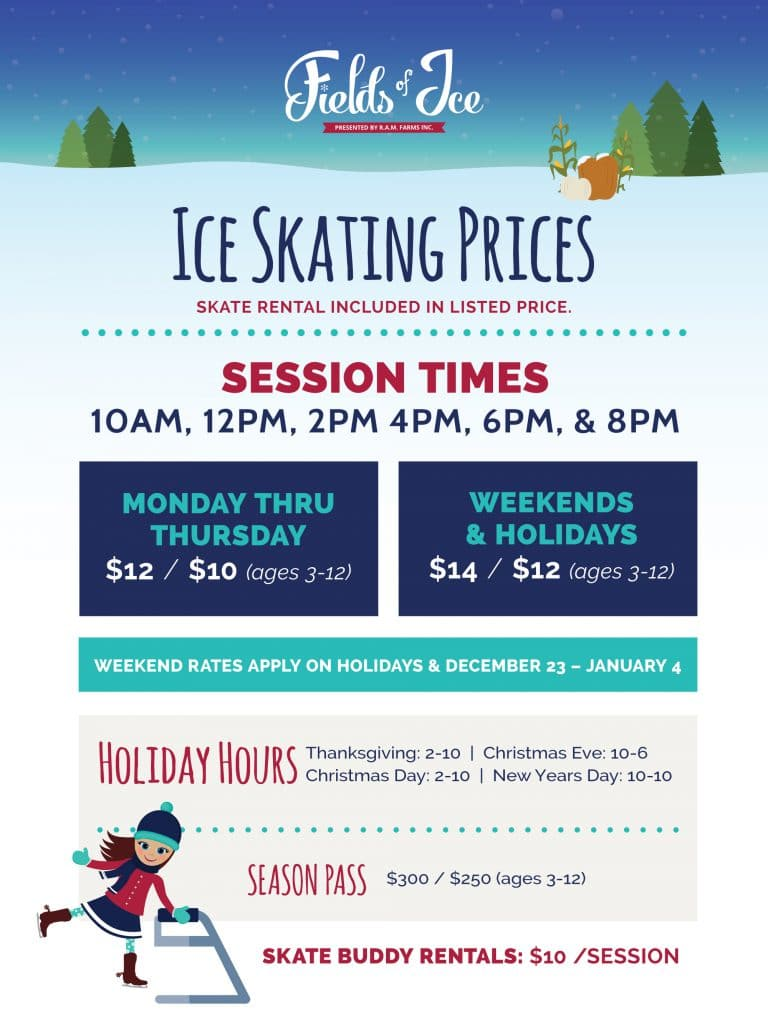 Fields of Ice Skating Prices Signage