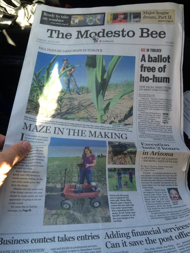 In the local Newspaper for Corn Maze