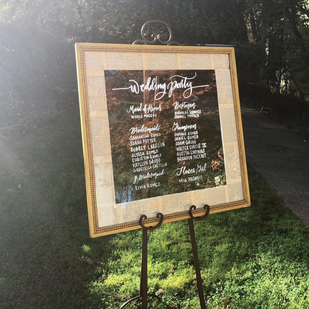 Nic & Natalie Wedding Party Sign